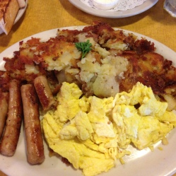 Sausage, scrambled egg, hash browns and toast!