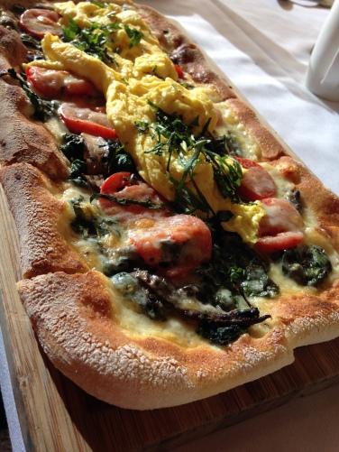 Breakfast on a pizza!